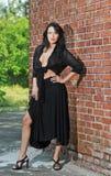 Jeune femme avec du charme de brune dans le noir et talons hauts restant près d'un mur de briques rouge Photo libre de droits