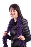 Jeune femme avec l'écharpe pourprée Photos stock