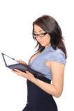 Jeune femme avec l'agenda Images stock