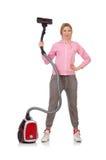 Jeune femme avec l'aspirateur Image stock