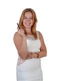 Jeune femme avec l'e-cigarette Photographie stock libre de droits