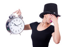 Jeune femme avec l'horloge photos stock