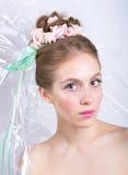 Jeune femme avec l'imagination de beauté de style de maquillage de guimauve Photos stock