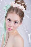 Jeune femme avec l'imagination de beauté de style de maquillage de guimauve Images stock