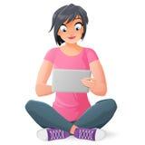 Jeune femme avec l'ordinateur de tablette Illustration de vecteur illustration libre de droits