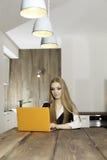 Jeune femme avec l'ordinateur portable Image stock