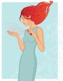 Jeune femme avec la bouteille de parfum illustration stock