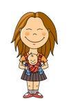 Jeune femme avec la chéri Illustration Libre de Droits