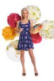 Jeune femme avec la palette et les balais d'artistes Images stock