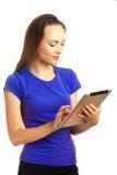Jeune femme avec la tablette Images libres de droits