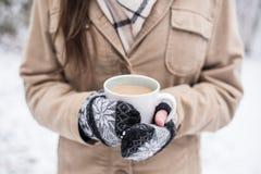 Jeune femme avec la tasse de café dans la neige Photographie stock libre de droits