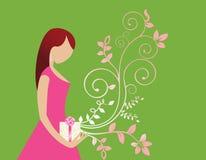 Jeune femme avec le cadeau et le flourish illustration libre de droits