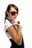Jeune femme avec le canon Photographie stock