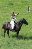 Jeune femme avec le cheval et le faucon Image stock