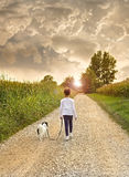 Jeune femme avec le chien marchant sur la route Image stock
