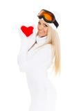 Jeune femme avec le coeur rouge dans des mains Photos libres de droits