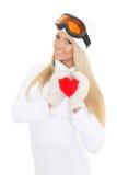 Jeune femme avec le coeur rouge dans des mains Photos stock