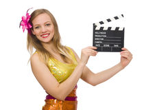 Jeune femme avec le conseil de film d'isolement Photographie stock libre de droits