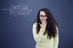 Jeune femme avec le fond avec le graphique, la flèche et les icônes tirés de gestion Photo libre de droits