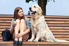 Jeune femme avec le golden retriever de chien dans une ville d'été Photographie stock libre de droits