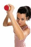 Jeune femme avec le grand caoutchouc de gomme à effacer de crayon d'isolement Image libre de droits