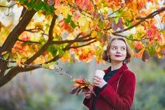 Jeune femme avec le groupe de feuilles d'automne colorées Photographie stock libre de droits