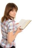 Jeune femme avec le livre Images stock