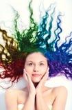 Jeune femme avec le long cheveu bouclé Photos libres de droits