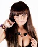 Jeune femme avec le long cheveu foncé Photo libre de droits