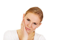 Jeune femme avec le mal de dent Image libre de droits