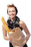 Jeune femme avec le panier Photo libre de droits