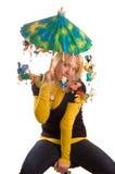 Jeune femme avec le parapluie drôle Photographie stock libre de droits