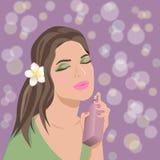 Jeune femme avec le parfum illustration de vecteur