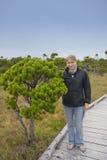Jeune femme avec le pin de rivage arrêté dans un marais Photo stock