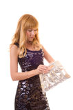 Jeune femme avec le sac Photographie stock libre de droits