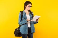 Jeune femme avec le sac et le PC Images stock
