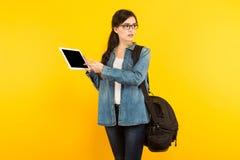 Jeune femme avec le sac et le PC Photos libres de droits