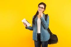 Jeune femme avec le sac et le PC Image stock