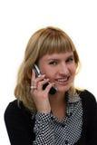 Jeune femme avec le téléphone portable Photographie stock