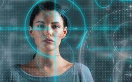 Jeune femme avec le thème biométrique photo libre de droits