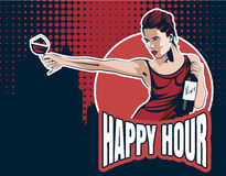 Jeune femme avec le verre de vin et la bouteille de vin Textotez l'heure heureuse, ville sur le fond Image courante de vecteur Photo libre de droits