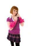 Jeune femme avec les bandes roses sur ses bras Photos libres de droits
