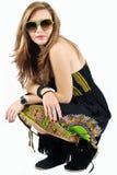 Jeune femme avec les glaces vertes Image stock