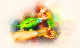 Jeune femme avec les perroquets de couleur et le fond doucement brouillé d'aquarelle Photos libres de droits