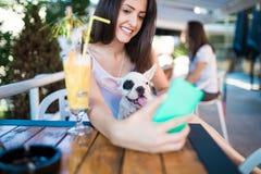 Jeune femme avec son chien dans la barre de café photos libres de droits