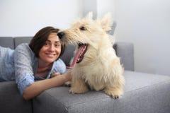Jeune femme avec un chien à la maison Image stock