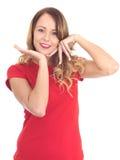 Jeune femme décontractée de sourire heureuse attirante images libres de droits