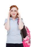 Jeune femme déprimée de Caucasian d'étudiant universitaire Image stock