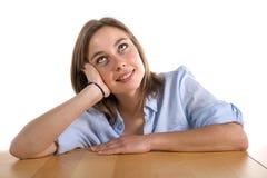 Jeune femme détruit dans la pensée Photo libre de droits