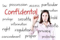Jeune femme d'affaires écrivant le concept confidentiel Photos stock